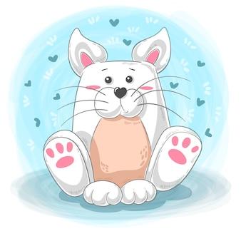 Fumetto sveglio del gatto - illustrazione dell'orsacchiotto.