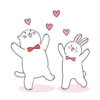 Fumetto sveglio del giorno di biglietti di s. valentino gatto e coniglio e cuori vettore.
