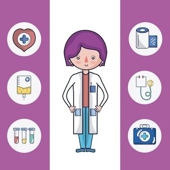 Fumetto sveglio del medico femminile con le icone rotonde mediche