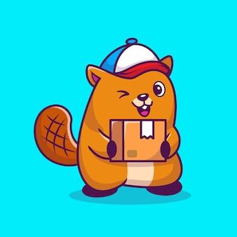 Fumetto sveglio del pacchetto di spedizione del castoro