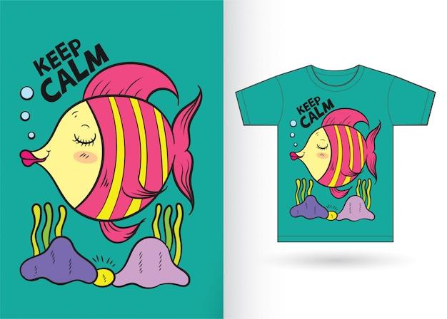 Fumetto sveglio del pesce disegnato a mano per la maglietta
