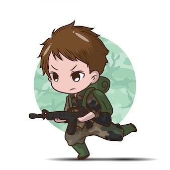 Fumetto sveglio del ragazzo del soldato dell'esercito.