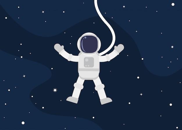 Fumetto sveglio dell'astronauta che galleggia nello spazio