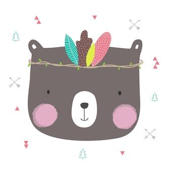 Fumetto sveglio dell'orso disegnato a mano per progettazione della cartolina d'auguri.