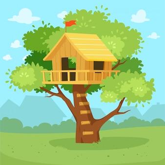Fumetto sveglio della casa sull'albero sul disegno della giungla