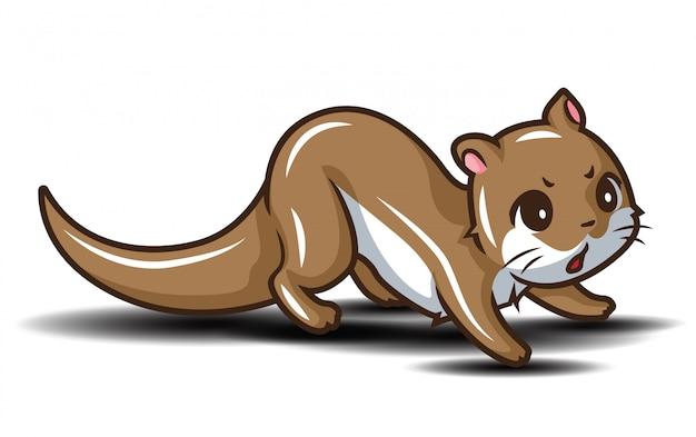 Fumetto sveglio della lontra., concetto del fumetto di animail.