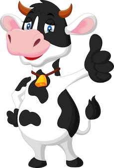 Fumetto sveglio della mucca che dà pollice in su
