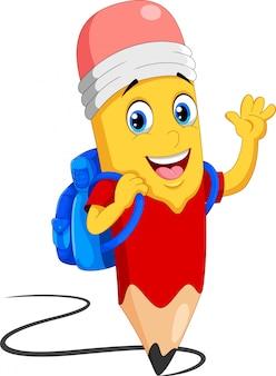 Fumetto sveglio delle matite con il sacchetto di scuola