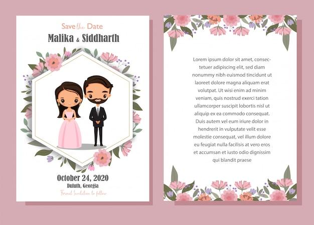 Fumetto sveglio dello sposo e della sposa con il modello della carta dell'invito di nozze del fiore