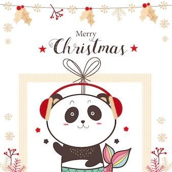 Fumetto sveglio di feste di natale della sirena del panda.