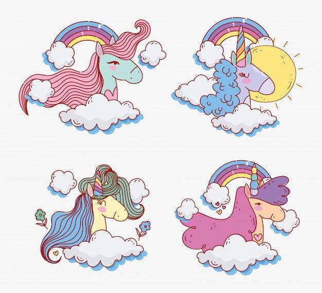 Fumetto sveglio di magia di fantasia dei fiori del cielo di giorno soleggiato dell'arcobaleno degli unicorni
