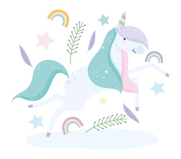 Fumetto sveglio magico delle foglie dell'arcobaleno del fiore dell'unicorno lascia il fumetto sveglio magico