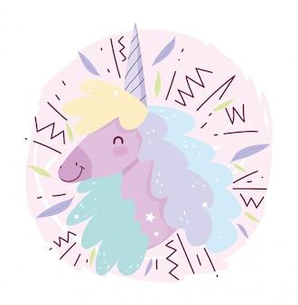 Fumetto sveglio magico di fantasia dei capelli colorato testa dell'unicorno