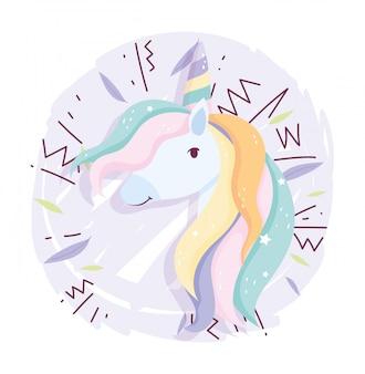 Fumetto sveglio magico di fantasia della decorazione dei capelli dell'arcobaleno dell'unicorno
