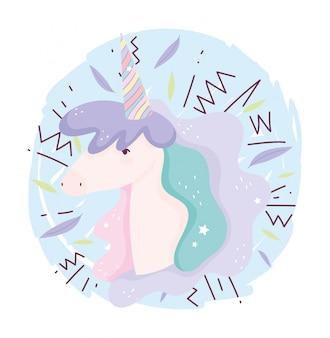 Fumetto sveglio magico di fantasia della decorazione del corno dell'arcobaleno dell'unicorno