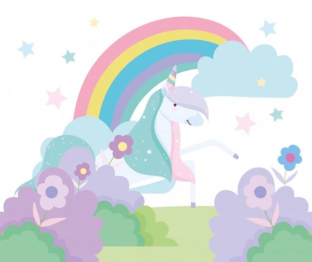 Fumetto sveglio magico di fantasia della decorazione dell'arcobaleno dei cespugli dei fiori dell'unicorno
