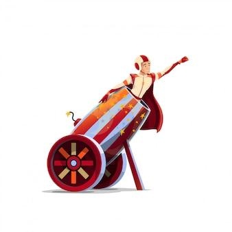 Fumetto umano della palla di cannone del circo della cima superiore