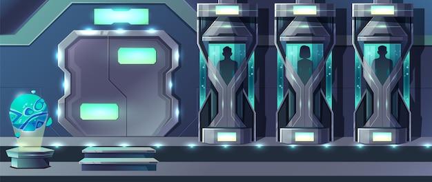Fumetto umano di clonazione con esseri umani femminili e maschii che crescono in capsule di vetro