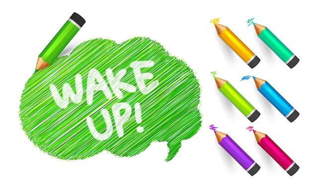 Fumetto verde e matite colorate