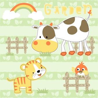 Fumetto vettoriale di animali divertenti in giardino