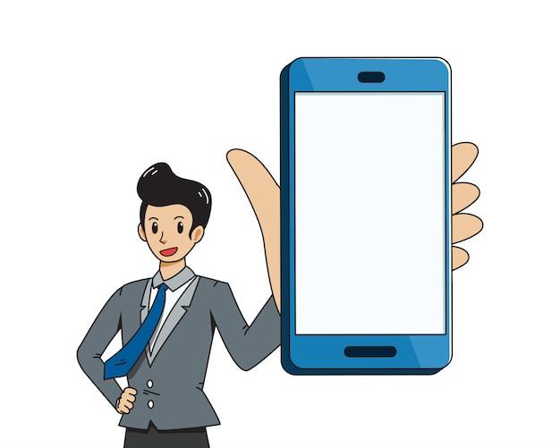 Fumetto vettoriale di uomo d'affari e grande smartphone