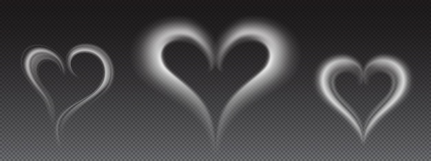 Fumo bianco realistico di vettore a forma di cuore