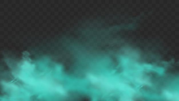 Fumo blu isolato. nuvola di nebbia magica blu realistica, gas tossico chimico, onde di vapore.