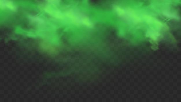 Fumo verde isolato. nuvola di nebbia magica, gas tossico chimico, onde di vapore.