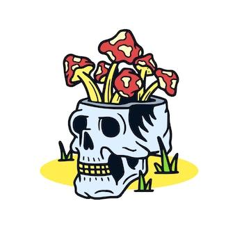 Funghi disegnati a mano in un'illustrazione del tatuaggio della vecchia scuola del cranio