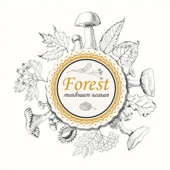 Funghi e foglie autunnali in un cerchio