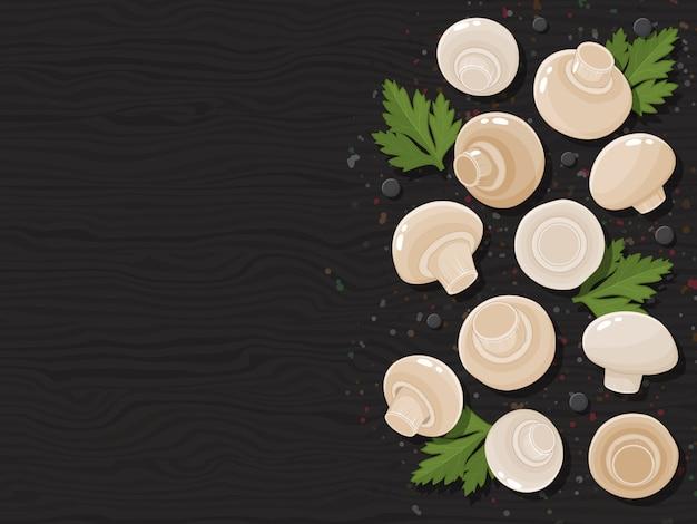 Funghi su fondo nero di legno. cartoon.