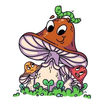 Funghi svegli del fumetto su erba verde con il bruco.