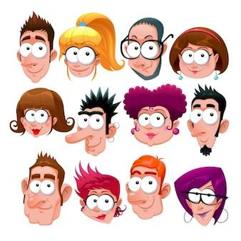 Funny faces cartoon vettoriali isolato caratteri