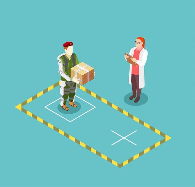 Funzionalità di illustrazione vettoriale esoscheletro