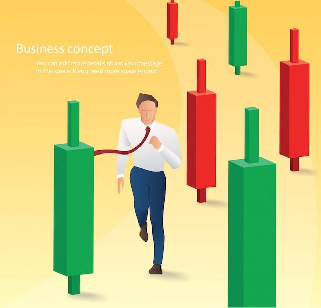Funzionamento dell'uomo d'affari con il fondo del grafico del candeliere