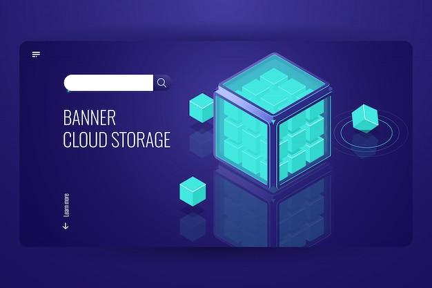 Funzione blockchain, crittografia dei dati di sicurezza, protezione delle informazioni, cubo tecnologico
