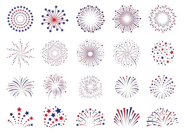 Fuochi d'artificio 4 luglio. celebrazione festival petardo, esplosione di fuochi d'artificio di festa, set di icone di esplosioni di fuochi d'artificio di carnevale. fuoco d'artificio di esplosione a natale, nuovo anno, illustrazione di carnevale di festival
