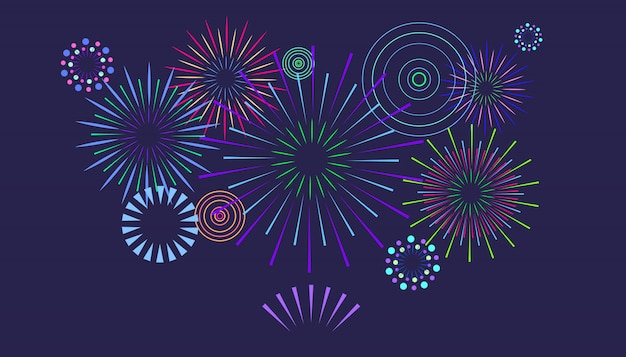 Fuochi d'artificio colorati festivi su un buio. fuochi d'artificio con stelle e scintille.