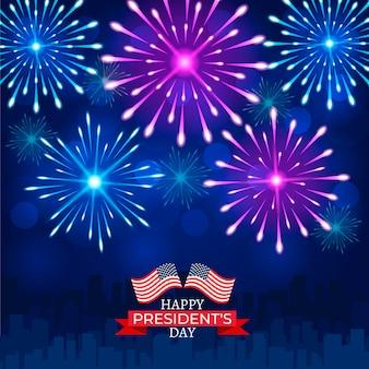 Fuochi d'artificio colorati per il giorno del presidente