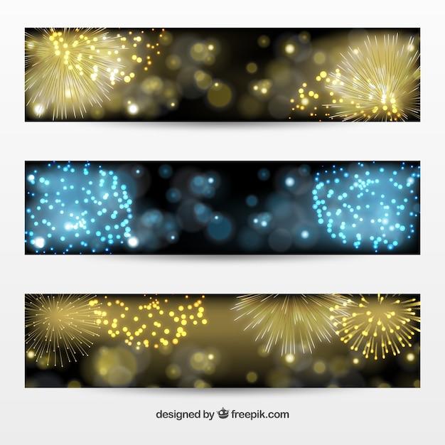 Fuochi d'artificio d'oro e bandiere blu pacchetto