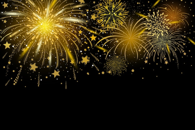 Fuochi d'artificio d'oro su sfondo nero