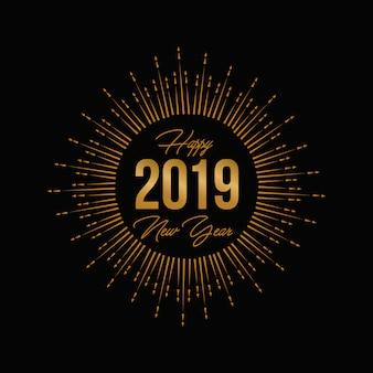 Fuochi d'artificio dell'oro cartolina d'auguri e logo 2019 del nuovo anno