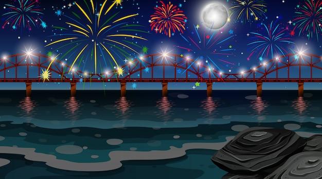 Fuochi d'artificio di celebrazione con scena del ponte
