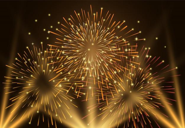 Fuochi d'artificio e luce sull'illustrazione del cielo notturno