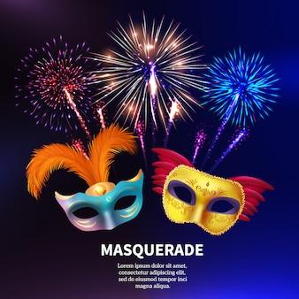 Fuochi d'artificio in maschera per feste