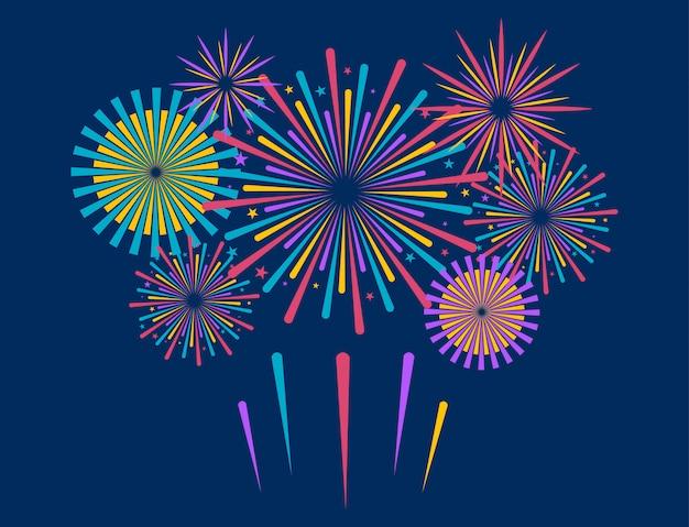 Fuochi d'artificio in stile cartone animato