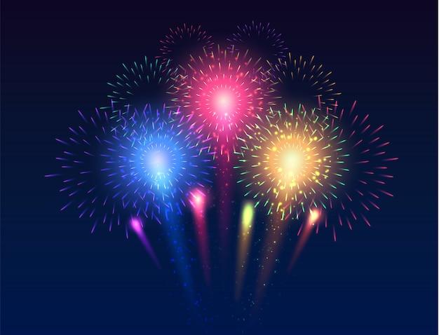 Fuochi d'artificio incandescente collezione di fuochi d'artificio luminosi multicolori