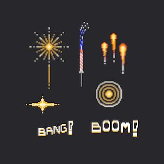 Fuochi d'artificio pixel e set di testo