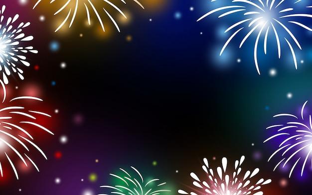Fuochi d'artificio su sfondo nero con spazio di copia