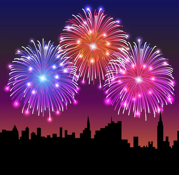 Fuochi d'artificio sulla città di notte